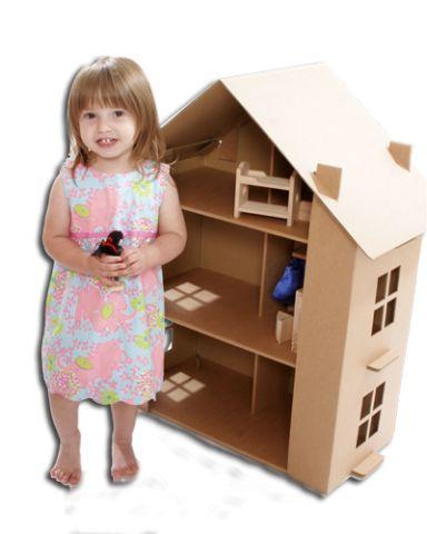 Как сделать большой домик из картона для куклы